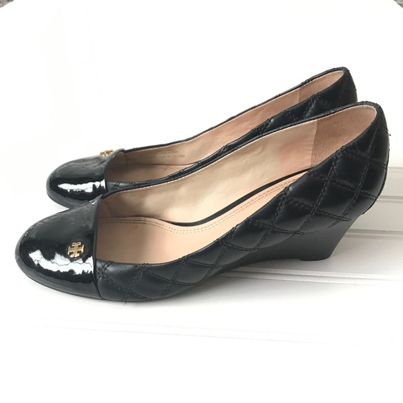 95b27f847a1 Tory Burch Claremont quilted wedge black 8. M 5c6c9751c9bf50686694ae75